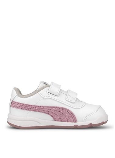 Puma Puma Kız Çocuk Düz Beyaz-Pembe Cırt Cırtlı Yürüyüş Ayakkabısı Beyaz